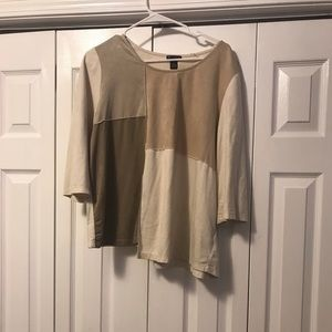 Tan felt color block blouse